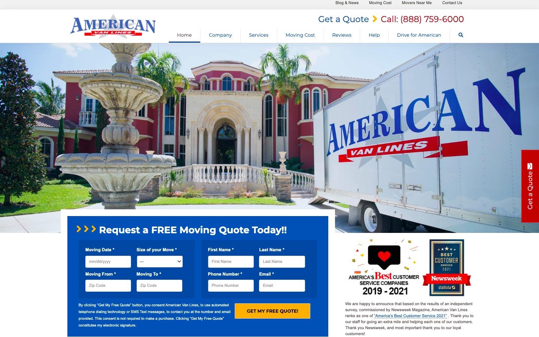 American Van Lines main page