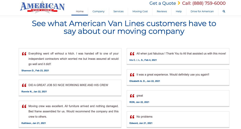 American Van Lines testimonials