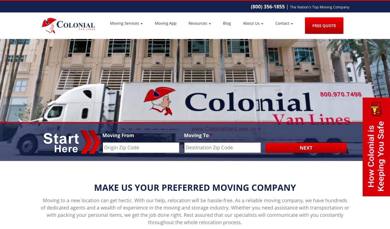 Colonial Van Lines main page
