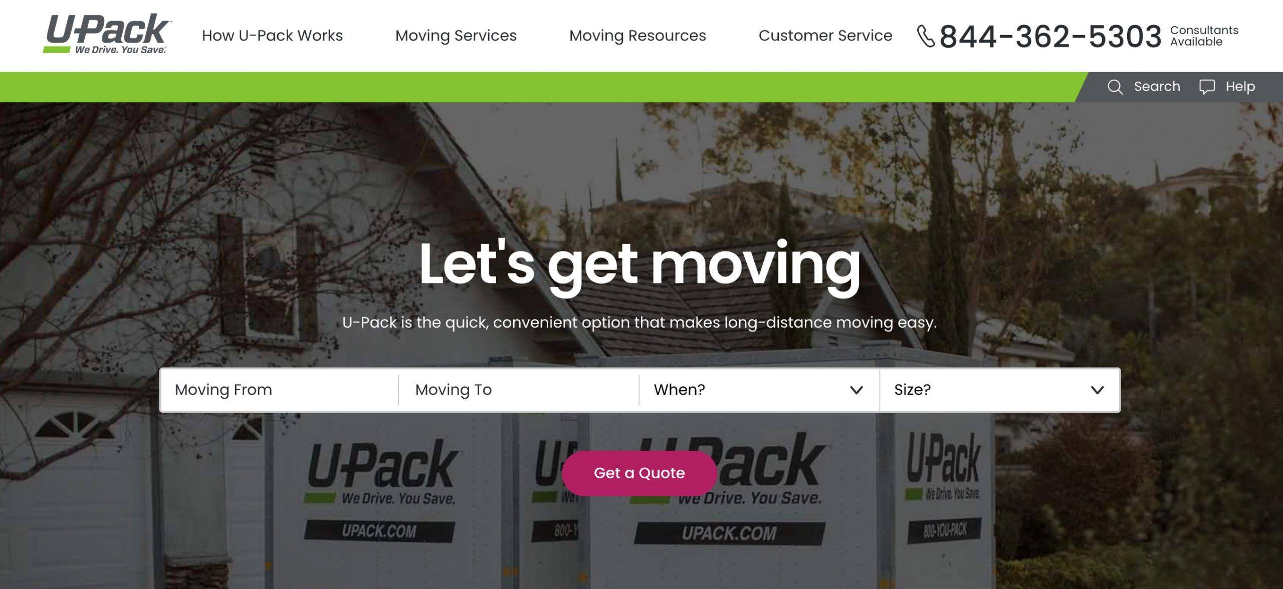 U-Pack main page