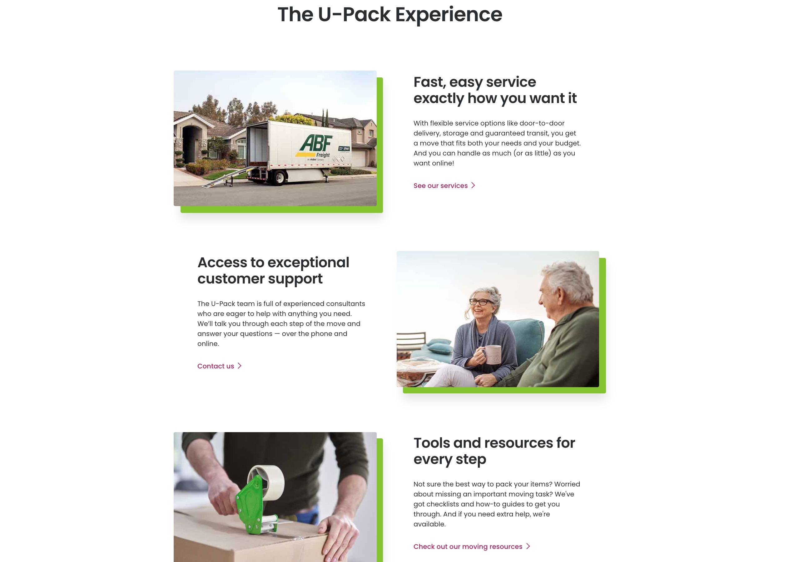 U-Pack pack experience